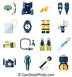 Scuba Diving and Snorkeling Icons