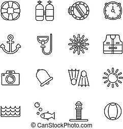 Scuba diving and water activities icons