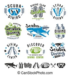Scuba diving emblems, labels and design elements. Color...
