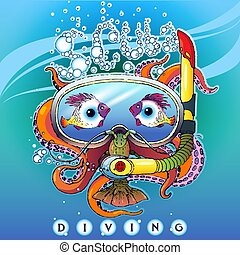 Scuba Diving - Creative stylized illustration of a logo on a...