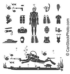 Scuba diving equipment. Sport underwater, water sea, glove...