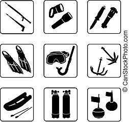 Scuba diving equipment - scuba diving objects, black and...
