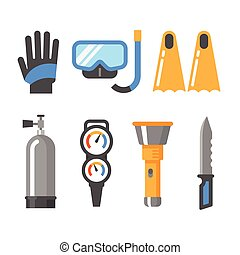 Scuba diving gear flat icon set. Gloves, mask, snorkel, fins, air tank, pressure gauge, flashlight, knife.