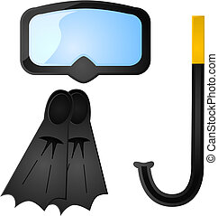 Glossy illustration of some scuba diving equipment