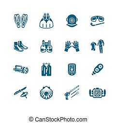 Scuba diving icons | MICRO series