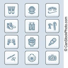 Scuba diving icons | TECH series