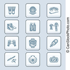 Scuba diving icons | TECH series