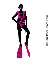 Scuba Diving Illustration Silhouette