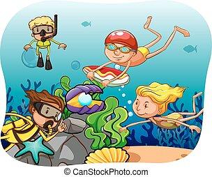 Scuba diving - People scuba diving under the ocean