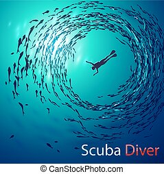 scuba diving - Creative vector illustration on the theme of...