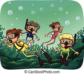 Scuba diving - People doing scuba diving under the ocean
