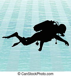 Scuba diving - Illustration of a man who dive in the sea.