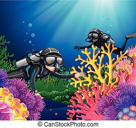Scuba diving in deep ocean