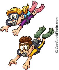 Scuba diving kids. Vector clip art illustration with simple...