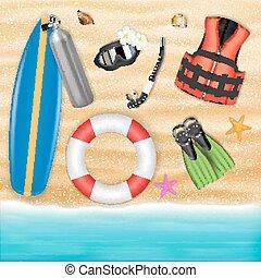 scuba diving object on a sea sand beach