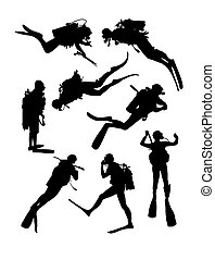 Scuba Diving Silhouettes, art vector design