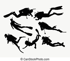 Scuba diving snorkeling silhouette - Scuba diving and...