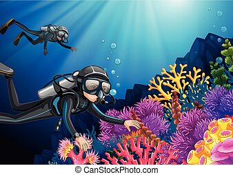 Scuba diving under the deep ocean
