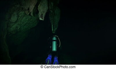 Scuba diving underwater in caves of Yucatan Mexico cenotes....