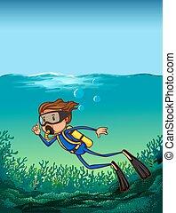 Scuba diving - Man doing scuba diving under the ocean