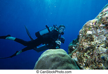 Scuba Diving - Woman diving on a coral reef