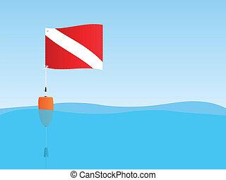 Scuba Flag Floating - Illustration of a scuba flag and buoy...