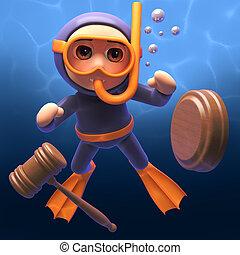 scuba, leilão, ilustração, gavel, mergulhador, snorkel, caricatura, 3d