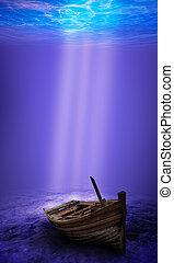 scuba műugró, kikutat, egy, elmerült, víz alatti, hajótörés