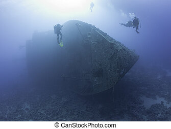 scuba műugró, kikutat, egy, hajótörés