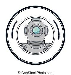 scuba maritime emblem icon