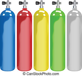 Scuba tank - Illustration of five different colors tanks