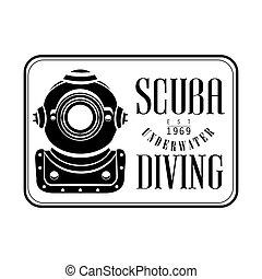 Scuba underwater diving est 1969 vintage logo. Black and...