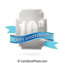 scudo, anniversario, illustrazione, anno, 10, argento