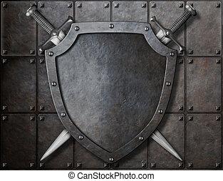 scudo, armatura, cavaliere, sopra, spade, due, piastre