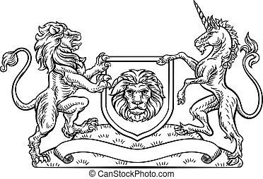 scudo, cappotto, araldico, braccia, leone, unicorno, cresta