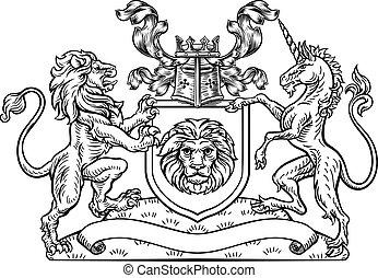 scudo, cappotto, araldico, braccia, leone, unicorno