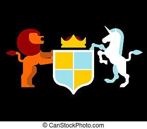 scudo, cappotto, araldico, simbolo., illustrazione, segno, arms., leone, vettore, animale, unicorno