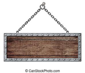 scudo, catena, cartello, isolato, appendere, bianco, o, medievale