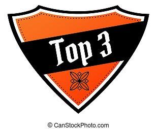 scudo, cima, text., 3, nero, arancia