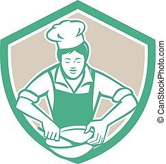scudo, ciotola, chef, retro, femmina, miscelazione