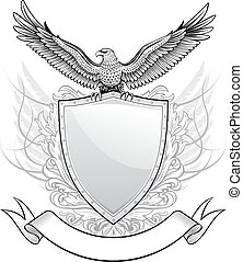 scudo, con, aquila, emblema