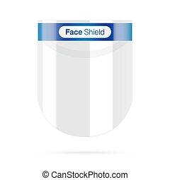 scudo, faccia, details., plastica, blu
