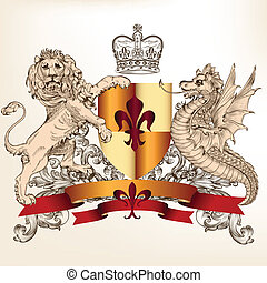 scudo, leone, araldico, disegno