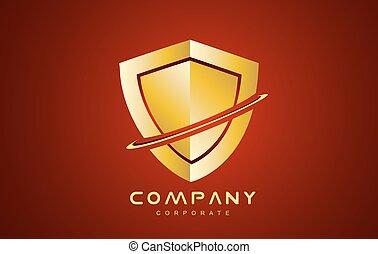 scudo, oro, antivirus, disegno, logotipo, rosso, icona