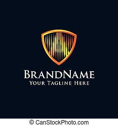 scudo, oro, colorare, iniziale, lettera, logotipo