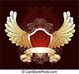 scudo, rosso, ali, dorato