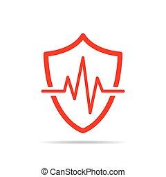 scudo, segno., illustrazione, vettore, battito cardiaco,...