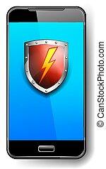 scudo, simbolo, lampo, telefono, protezione, bullone, icona, salvaguardia, rosso