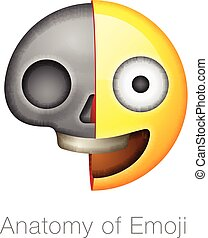 Scull smiley emoticon, emoji design