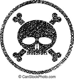 Scull with crossbones vector icon with hand drawn lines texture.